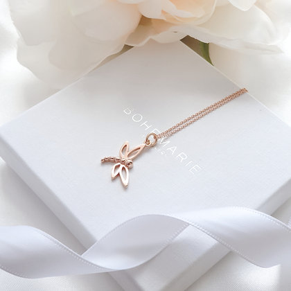 Rose gold plated dragonfly layering necklace