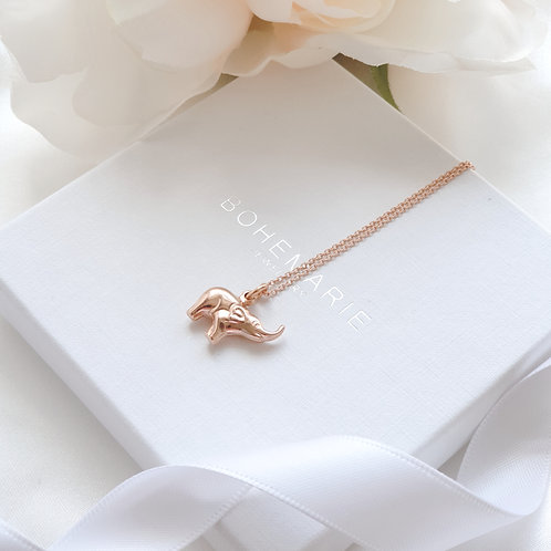 Rose gold plated elephant layering necklace