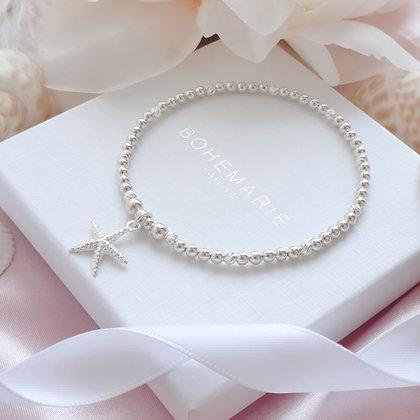 Sterling silver beaded Starfish charm bracelet