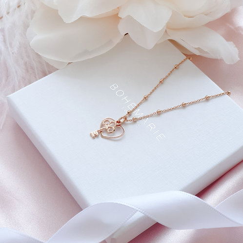 Rose gold plated heart charm layering necklace