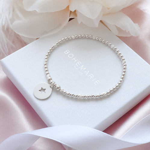 Sterling Silver beaded Star coin charm bracelet