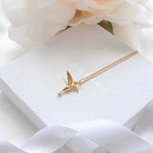Gold plated hummingbird layering necklace