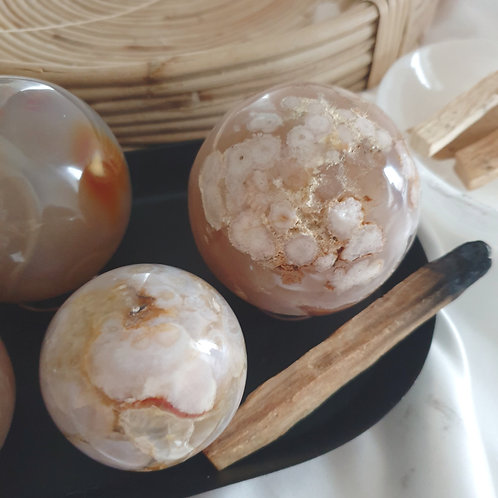 Blossom Agate Sphere - Medium