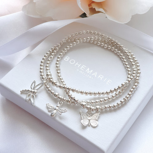 sterling silver beaded butterfly charm stacking bracelet set