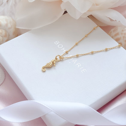 Gold plated seahorse charm layering necklace