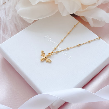 Gold plated bee necklace for layering