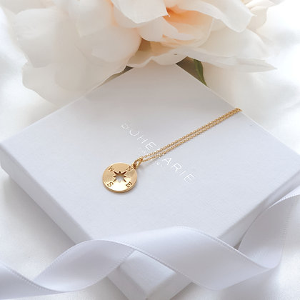 Gold plated compass layering necklace