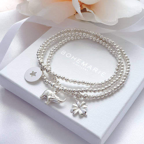 sterling silver beaded elephant charm stacking bracelet set