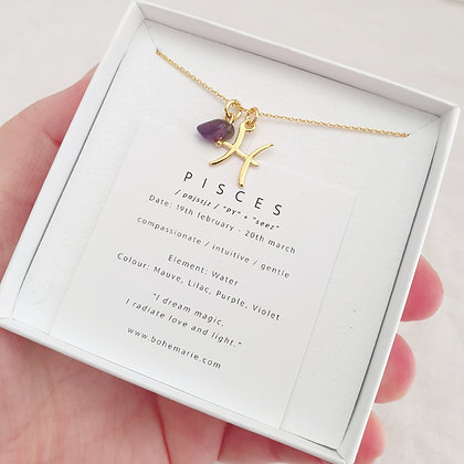 Gold Plated Pisces Necklace