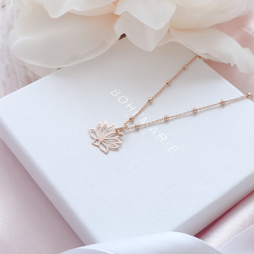 Rose gold plated lotus flower charm layering necklace