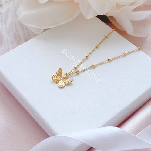Gold plated butterfly charm layering necklace