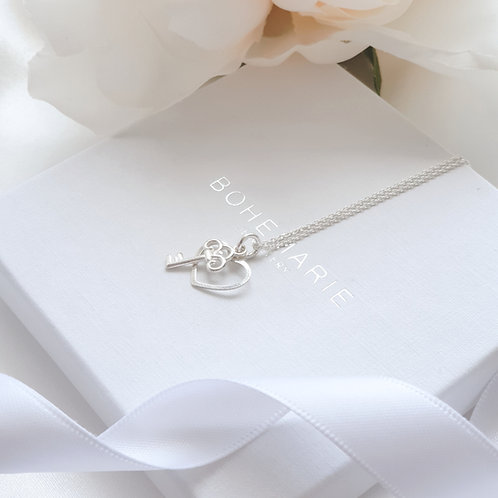 Sterling silver heart layering necklace