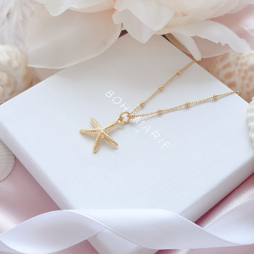 Gold plated starfish charm layering necklace