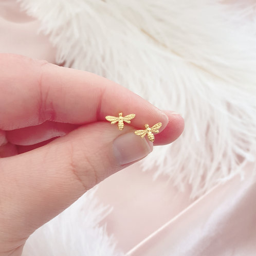 Gold Plated Bumble Bee Earrings