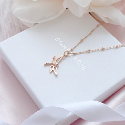 Rose gold plated dragonfly charm layering necklace