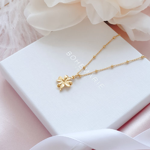Gold plated clover necklace for layering