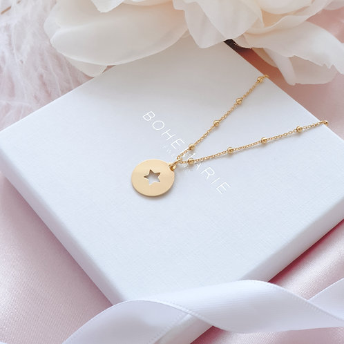Gold plated star coin charm layering necklace