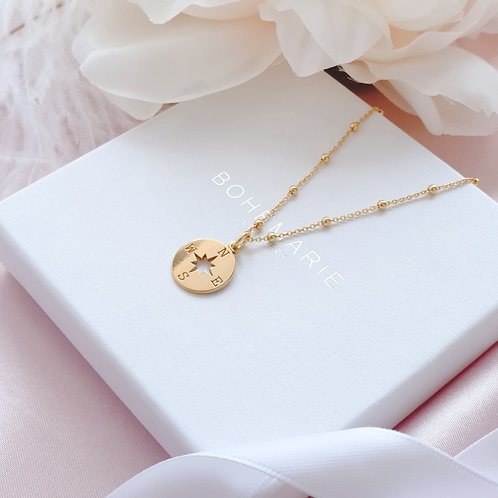 Gold plated compass charm layering necklace