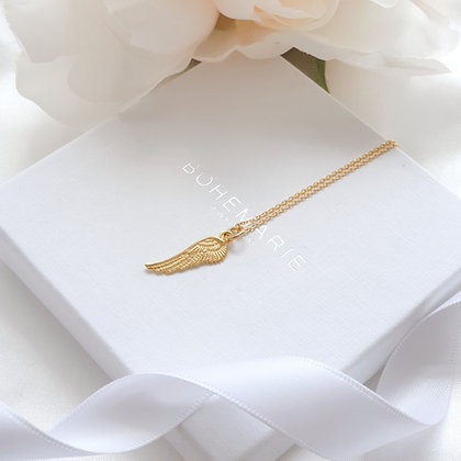 Gold plated angel wing layering necklace