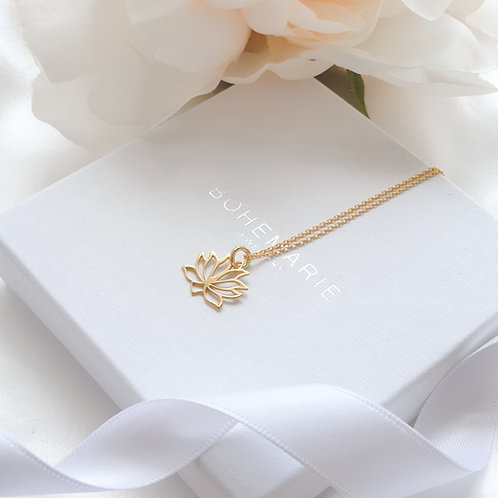Gold plated lotus flower layering necklace