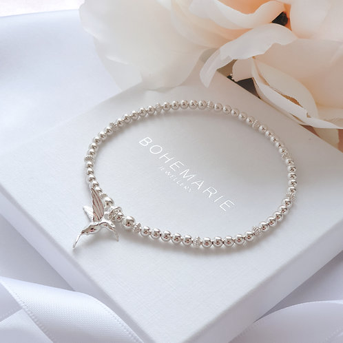 Sterling silver beaded hummingbird charm bracelet
