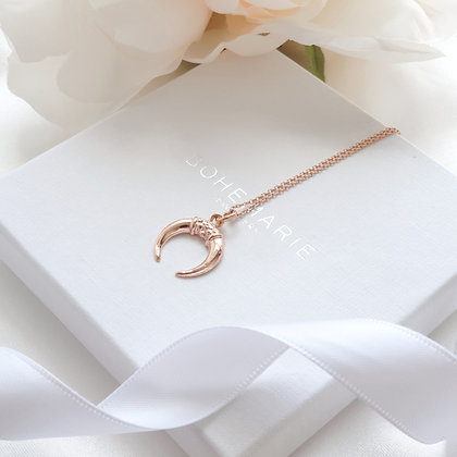Rose gold plated crescent moon horn layering necklace