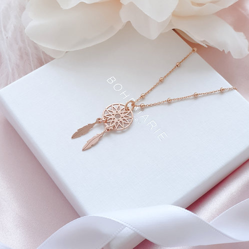 Rose gold plated dreamcatcher charm layering necklace