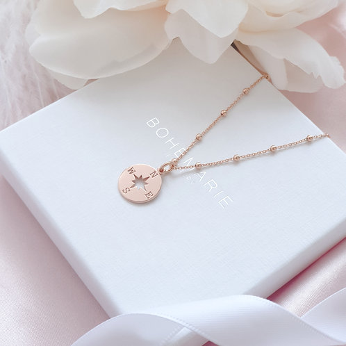 Rose gold plated compass charm layering necklace