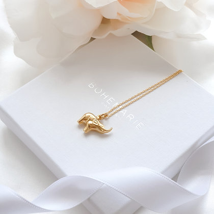 Gold plated elephant layering necklace