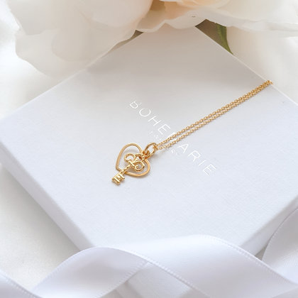 Gold plated heart layering necklace