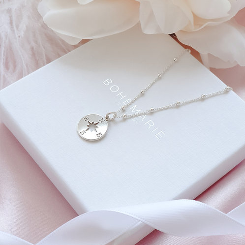 Sterling Silver layering compass necklace