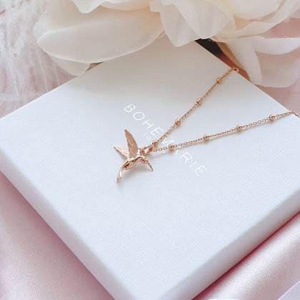 Rose gold plated hummingbird charm layering necklace