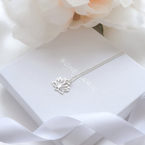 Sterling silver lotus flower layering necklace