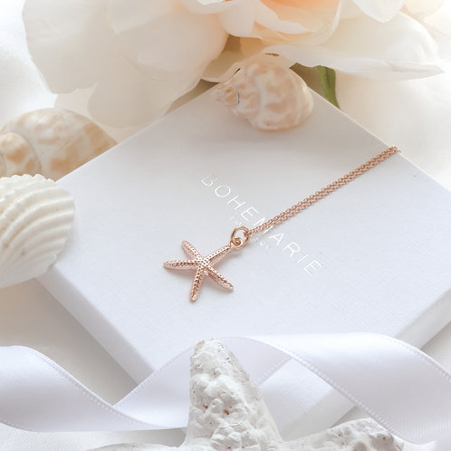 Rose Gold plated starfish layering necklace