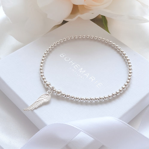 Sterling silver Angel wing charm beaded stacking bracelet