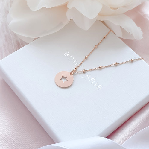 Rose gold plated star coin charm layering necklace