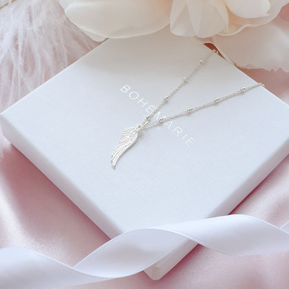 Sterling Silver angel wing necklace for women