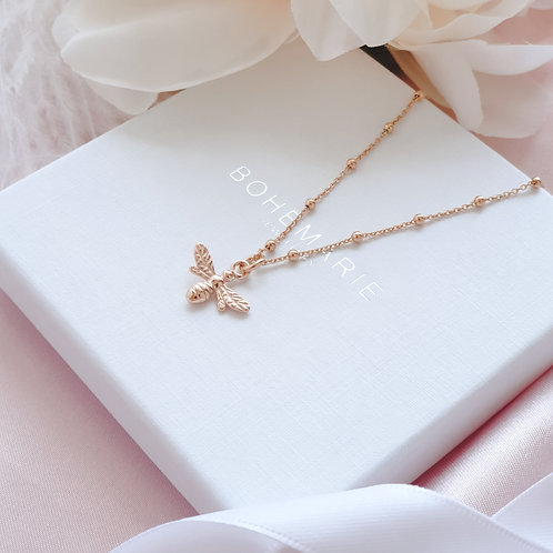 Rose gold plated bee charm layering necklace