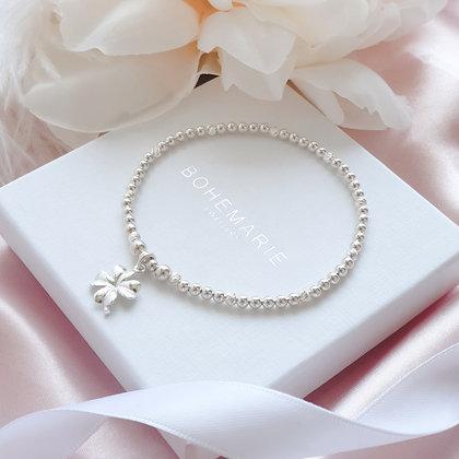 Sterling Silver beaded clover charm bracelet