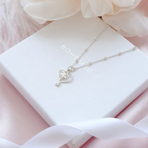 Sterling Silver heart necklace for women