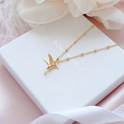 Gold plated hummingbird charm layering necklace