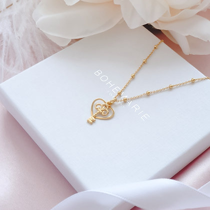 Gold plated heart charm layering necklace