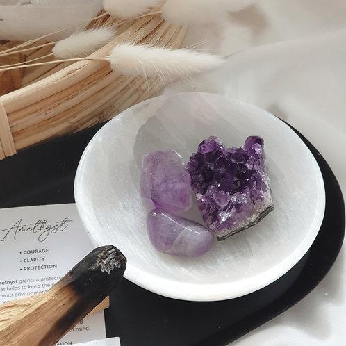 Amethyst crystal set, crystal kit