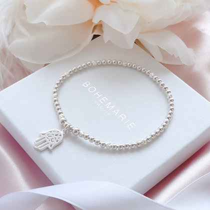 Sterling Silver beaded hand of hamsa charm bracelet