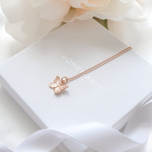 Rose gold plated butterfly layering necklace