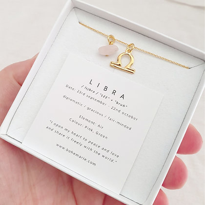 Gold Plated Libra Necklace