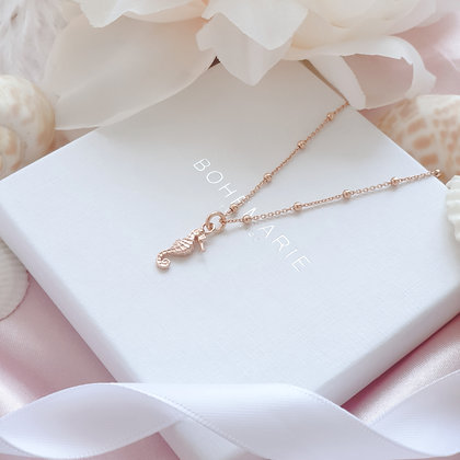 Rose Gold plated seahorse charm layering necklace
