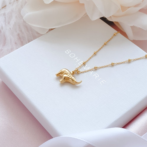 Gold plated elephant necklace for layer