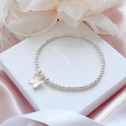 Sterling Silver beaded butterfly charm bracelet
