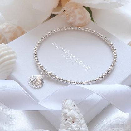 Sterling silver beaded seashell charm bracelet